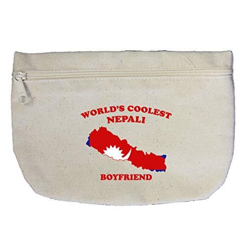 Cotton Nepali - Worlds Coolest Nepali Boyfriend Cotton Canvas Makeup Bag Zippered Pouch
