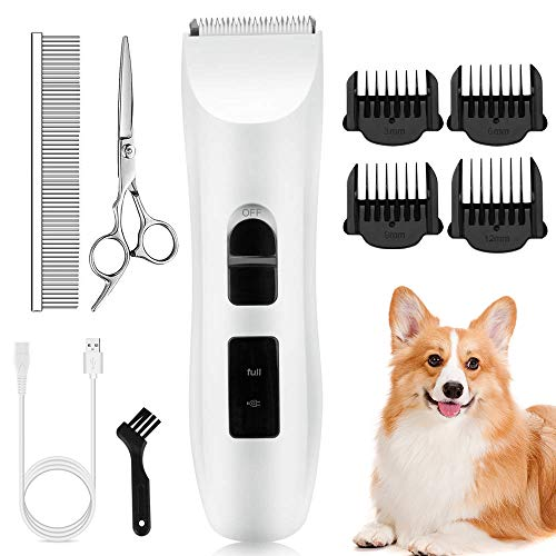 Nicewell Dog Clippers Cat Shaver, Low Noise Pet Grooming and Trimming Clippers Kit, USB Rechargeable Cordless Dog and Cat Grooming Set, Detachable Blade (Concise White) (Best Pet Hair Clippers For Cats)