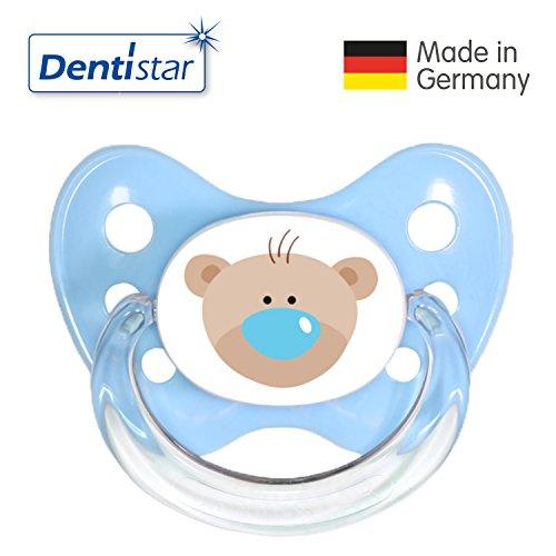 Dentistar® Silikon-Schnuller Sonderedition- Nuckel-Motiv: Bär, Farbe: blau, Größe: 1 - Beruhigungs-Sauger für Junge & Mädchen von 0-6 Monaten als Geschenk zur Geburt - zahnfreundlich, BPA-frei, Greif-Ring