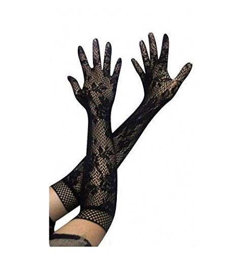 - Ladies Girls Prom Hen Fancy Lace Elbow Length Elegant Burlesque Gloves French Maid Fishnet Old up Lace Top Satin Bow Black One Size
