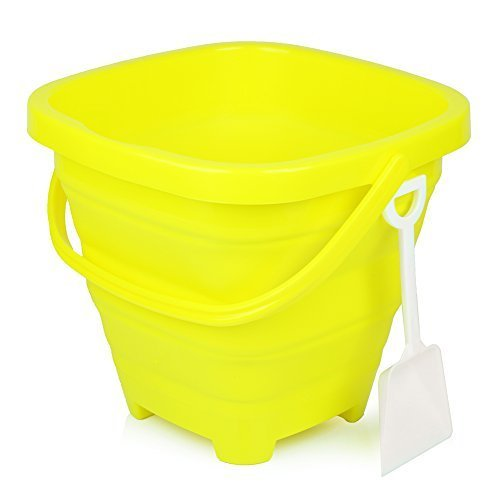 Packable Pails - Collapsible Silicone Beach Sand Bucket [5 Liter] with Handle + Shovel   Sand Castle, Beach Vacation, Travel, Camping, Fishing, Outdoors, Water, Gardening, Cleaning, Car wash (Yellow)
