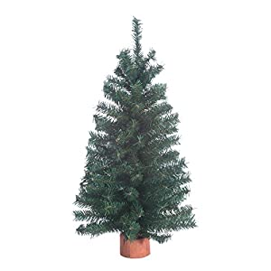 Christmas Pine Tree 18 Inches High on Wood Base - Artificial Christmas Pine Tree 41