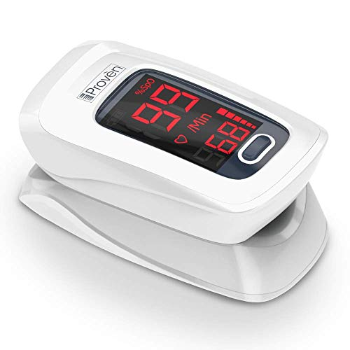[New Version] iProvèn Pulse Oximeter Fingertip – Oxygen Saturation Monitor – with Heart Rate Detection – incl. Batteries, Case and Lanyard – iProvèn OXI-27 White