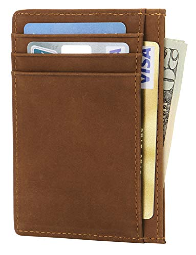 (Womens Slim Credit Card Holder Thin RFID Blocking Wallet Small Minimalist Leather Front Pocket Wallet for Men or Women - Brown )