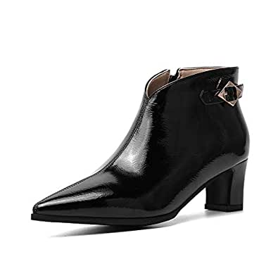 BalaMasa Womens ABS13938 Comfort Solid Closed-Toe Black Pu Boots - 2 UK (Lable:33)