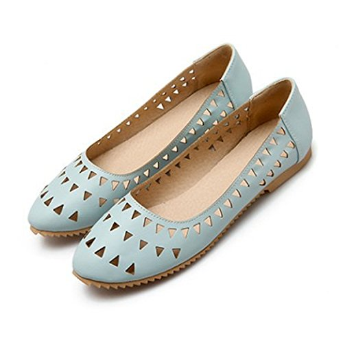Nonbrand Ladies laser cut rounded toe shoes ballerinas ballet flats Blue xhDNZy
