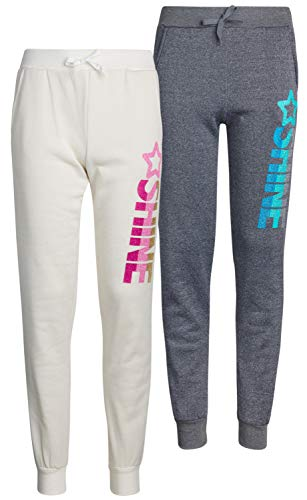 Real Love Girls Fleece Active Jogger Pants (2 Pack), Shine, Size 7/8