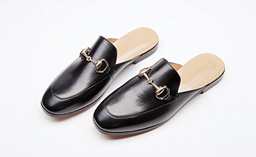 Leather Shoes Toe Women's Black Pointed Slipper Mule Honeystore Flats CY1RqAY