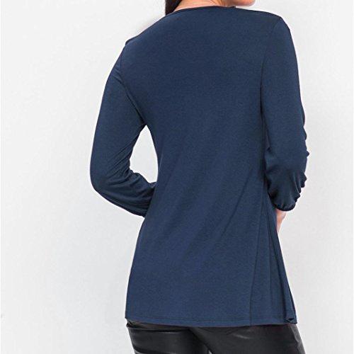 Diamond Femmes Pliss en V AIMEE7 Solide Top Shirt T Col Casual Bleu Blouse Basic Plisse F1AxvqA