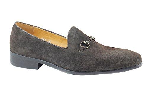 Diapositivas De De Sus Hombres En Zapatos Los De Cuero Italiano Estilo De Formal Lazo Gamuza Marrón Genuinos Vestir YwR77SxE