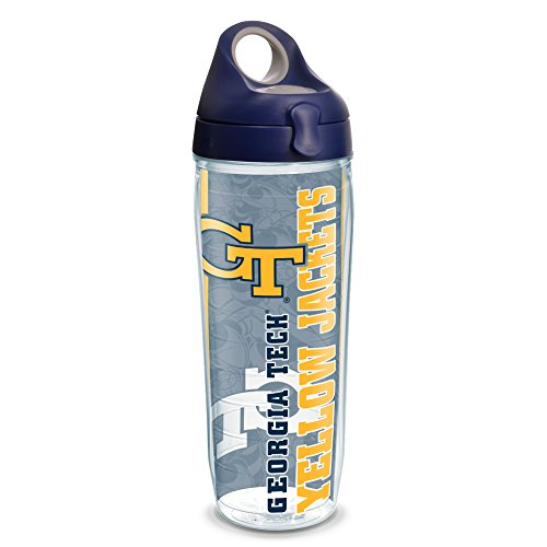 Tervis 1220852 Georgia Tech Yellow Jackets College Pride Tumbler with Wrap and Navy with Gray Lid 24oz Water Bottle, Clear