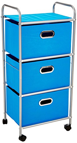 Honey-Can-Do CRT-02347 Organizador de tela con ruedas y 3 estantes, color azul