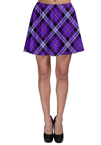 CowCow Womens Purple Plaid Skater Skirt, Purple Plaid - (Purple Plaid Skirt)