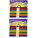 BAZIC Jumbo Colored Craft Stick, Assorted, 2 Packs, 50 Per Pack, Totals 100