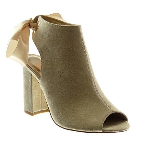 Angkorly Damen Schuhe Stiefeletten Sandalen - Offen - Peep-Toe - Schnürsenkel Aus Satin Blockabsatz High Heel 10.5 cm Beige