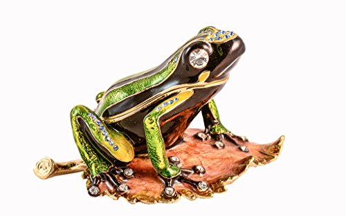(Frog on on Leaves Trinket Box,Swarovski Crystal, Hand Painted Green & Brown Enamel Over Pewter, Inside of Box with Lovely Enamel, Comes in Beautiful Gift Box, L 3.50 x H 2.00 x W 2.75)