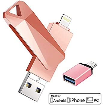 USB Flash Drives for iPhone 128GB 4 in 1 iOS Memory Stick OTG Jump Drive  Thumb Drives External Micro USB Memory Storage Drive for iPhone, iPad, iOS,