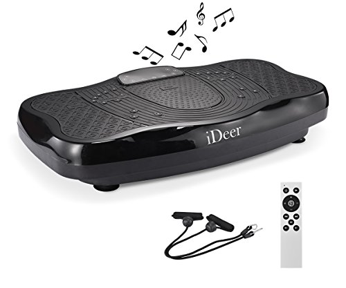 iDeer Vibration Machine Fitness Vibration Plates,Whole Body Shaking Vibration Platform with Remote Control & Resistance Bands,Anti-Slip Fit Massage Workout Trainer Max User Weight 330lbs (Black 09005) For Sale