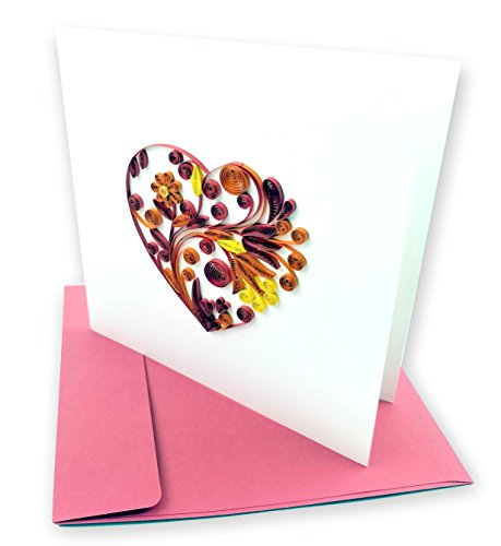 "Heart of Flowers Quilling Greeting Card, 6x6"" with Envelope. Any Occasion. Blank Inside. Hand-made. Suitable for Framing."