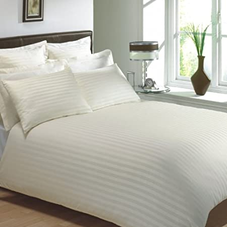 100/% Egyptian Cotton Duvet Cover Double Size. with 300 thread count hotel quality House Babylon White, Striped