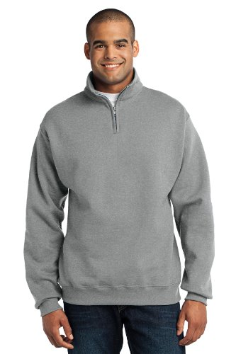 Jerzees 50/50 NuBlend Quarter-Zip Cadet Collar Sweatshirt, Small, OXFORD - Cadet Collar Oxford