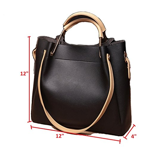 1 Women 2 Top in JeHouze Purse Handbag Genuine Fashion Shoulder Handle Leather Black qwEpI0pW
