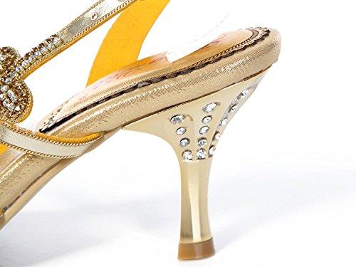 Schuhe Gold Kätzchen Offene Brautkleid Womens Job Party Strass Performance Ziemlich Salabobo Roman Braut Glänzend Mode L002 Work Freizeit Bridemaid Zehensandalen Ferse RY7nRHI