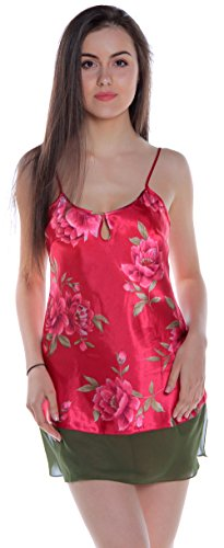 (Women's Printed Charmeuse Chemise #489a (S, Red Floral))