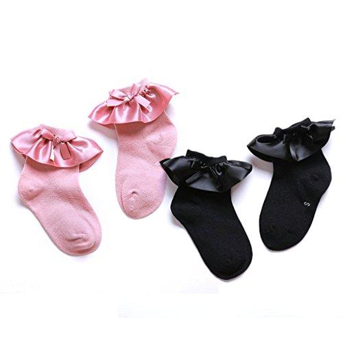 Baby Girls Pink Black Ruffle Frilly Cotton Socks Princess Style 2 Pairs 2-4 Y (Black Pink Ruffles)