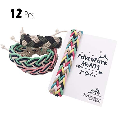 Party Favors For Teenage Girl (justBe 12 Pack Handmade Braided Woven Friendship Bracelet Camping Party Favor Gifts Individual Package for Girls Boys)