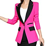 X-Future Womens Long Sleeve One Button Office Business Lapel Blazer Suit Jackets Rose M