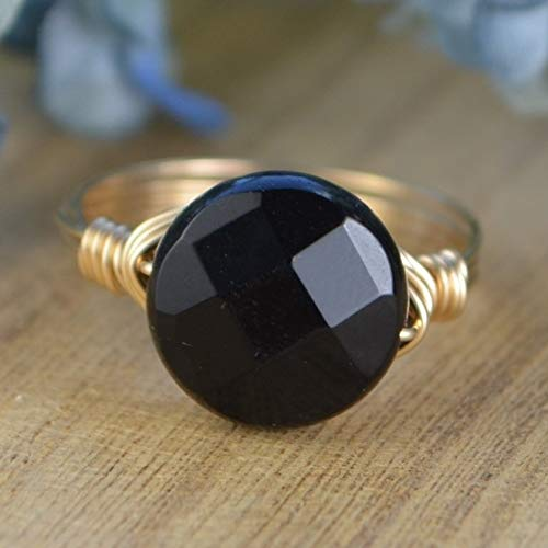 Faceted 14kt Gold Handmade Ring - Faceted Black Onyx Gemstone and Sterling Silver or Gold Filled Wire Wrapped Ring- Custom Made to Size 4-14