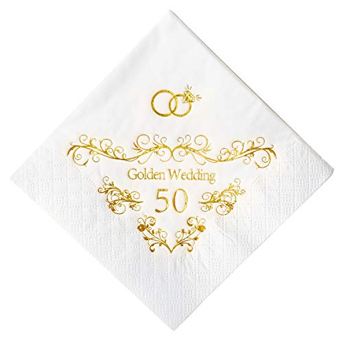 Crisky 50th Anniversaray Napkins, Gold Foil Text, 50th Anniversary Party Decorations 100 Pcs, 3-ply for $<!--$14.99-->