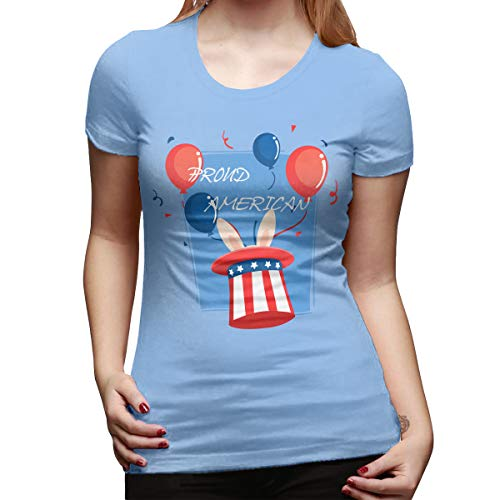 Jack Wesley Proud American Pride Red White Blue Bunny Women's Short Sleeve T Shirt Color Sky Blue Size 30