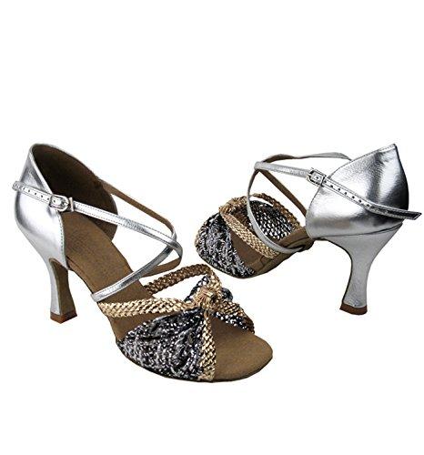 Scarpe Da Ballo Da Donna Serie Latino / Ritmo-firma, Treccia Oro E Argento S92309