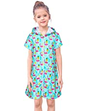FIOBEE Cover Up for Girls Terry Hooded Cover Ups for Kids Swimsuit Beach Dress with Zipper for Summer