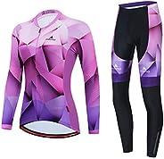 Uriah Women's Cycling Jersey and Pants Thermal Fleece Sets Long Sleeve Reflec