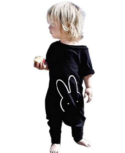TheFound Baby Boy Girl Romper Bunny Printed Short Sleeve Jumpsuit Zipper Playsuit Outfits(18-24M) Black