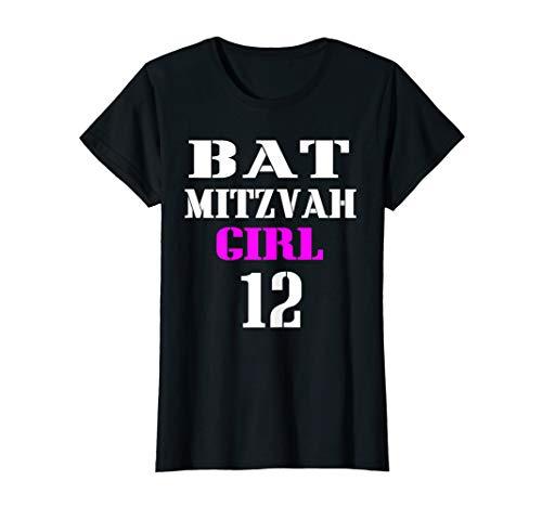 (Original bat Mitzvah Pink girl Happy 12 birthday Gift Tshirt)