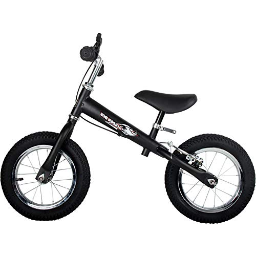 HAPTOO Toddler Bike for Boys Girls – No Pedal No Training Wheel Balance Bike for 2 3 4 5 Year Old with Hand Brake Kids Bicycle Adjustable Seat/Handlebars Rubber Air Tires Push Bike – Black