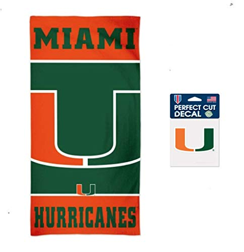 WinCraft NCAA University of Miami Hurricanes 30 x 60 inch Towel and 4 x 4 inch Perfect Cut Decal Set