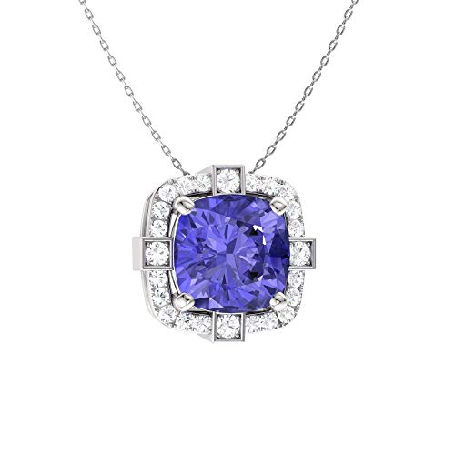 (Diamondere Natural and Certified Cushion Cut Tanzanite and Diamond Halo Necklace in 14k White Gold | 0.79 Carat Pendant with Chain )