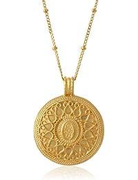 Gold Hamsa Mandala Pendant Necklace (24-Inch)