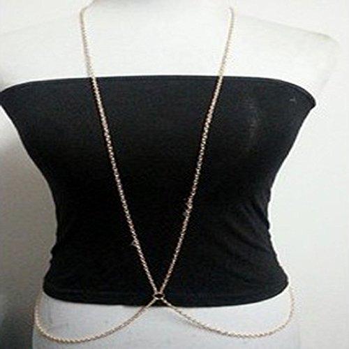 Susenstore Women Bikini Beach Cross Crossover Harness Necklace Waist Belt Belly Body Chain