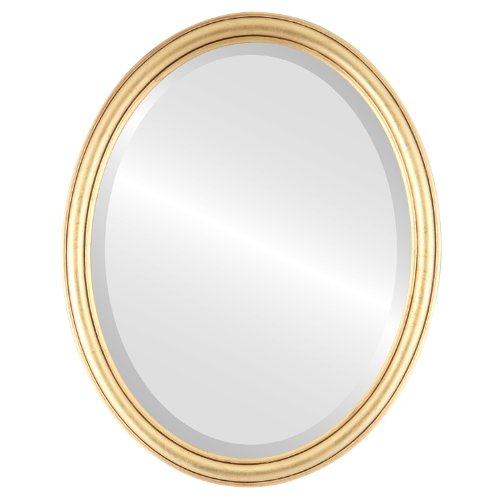 Oval Beveled Wall Mirror for Home Decor - Saratoga Style - Gold Leaf - 14x18 outside - Round 14 Mirror