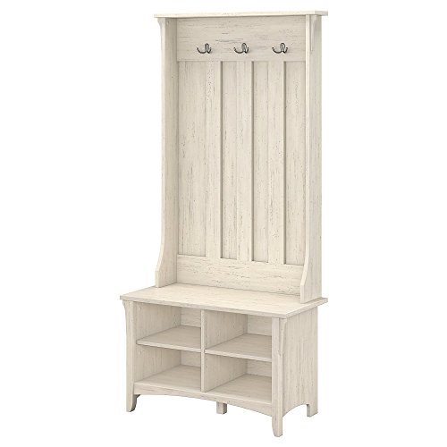 Bush Furniture Salinas Hall Tree with Storage Bench in Antique White (Mirror Storage Entryway With)