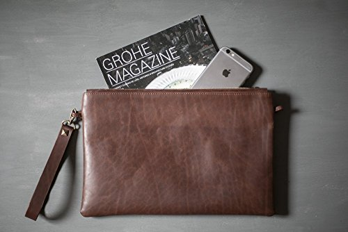 Brown vintage leather clutch, zipper clutch bag, iPad mini case by KRASEN DOM