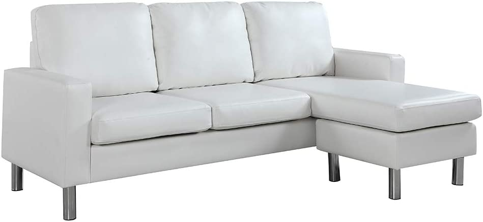 Casa Andrea Milano LLC Modern Sectional Sofa - Small Space Reversible Configurable Couch, White Leather