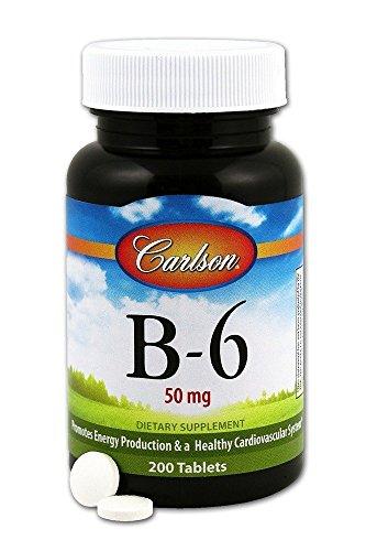 Carlson Laboratories Vitamin B-6 50mg 200 Tablets, 0.3 Pound