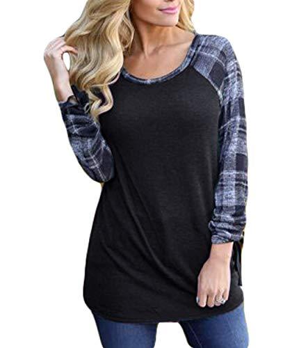 Eanklosco Women Long Sleeve Tops Plaid Patchwork Shirt Casual Round Neck Color Block Tunic Blouse (S, Black)